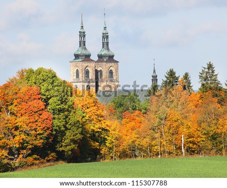 Tepla Abbey (Monastery) Premonstratensian abbey was founded in 1193, is one of the oldest churches of Bohemia. Situated in National Park Slavkovsky les. Czech Republic, Europe. - stock photo