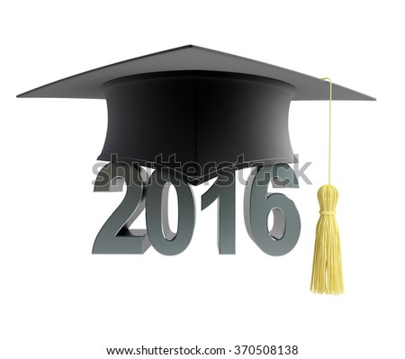 2016 text with graduation hat - stock photo
