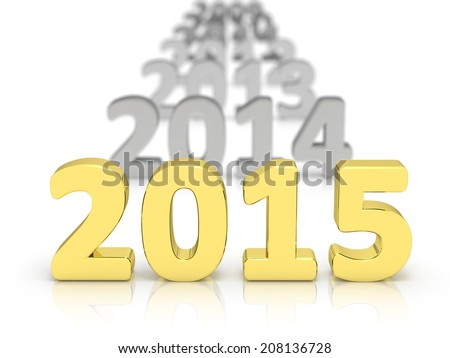 2015 text with older date behind blurred in the distance and isolated on a white background - stock photo