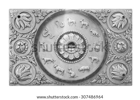 Texture background stucco carvings on a white background. - stock photo