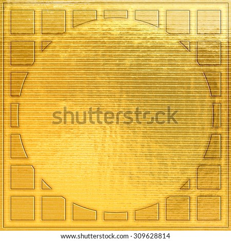 texture of the gold embossing of cardboard close up - stock photo