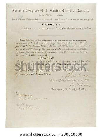 15th Amendment to the U.S. Constitution: Voting Rights (1870)Passed by Congress February 26, 1869, and ratified February 3, 1870, the 15th amendment granted African American men the right to vote. - stock photo