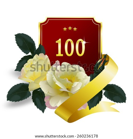 100th anniversary. Bouquet of yellow roses, red and golden anniversary label with number 100 and golden ribbon for your text - stock photo