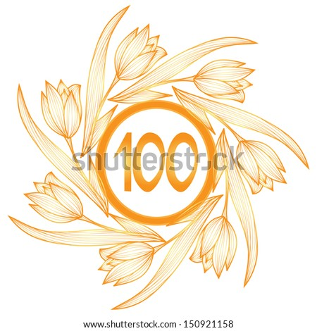 100th anniversary golden floral banner - stock photo
