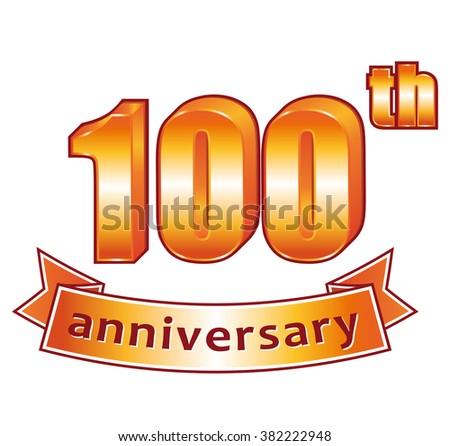 100th anniversary. Golden label. - stock photo