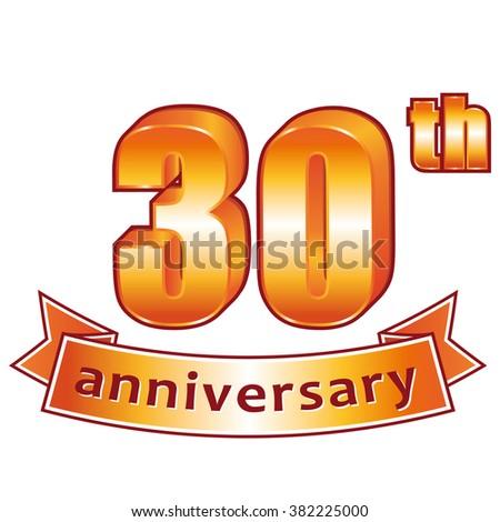 30th anniversary. Golden label. - stock photo
