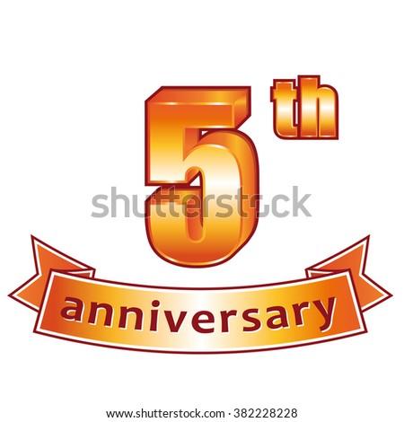 5th anniversary. Golden label. - stock photo