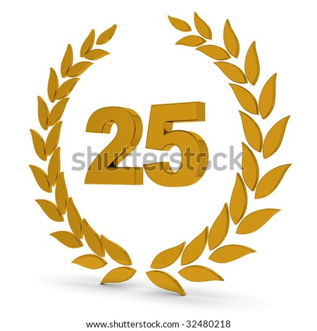 25th Anniversary Golden Laurel Wreath. Part of a series of wreaths, awards and trophies.