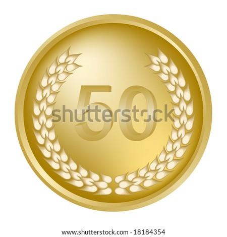 50th Anniversary medallion with laurel wreath - stock photo