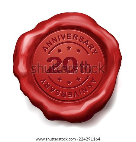20th anniversary red wax seal over white background