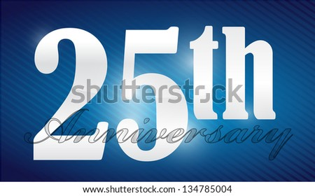 25th anniversary Silver Character Collection illustration design - stock photo