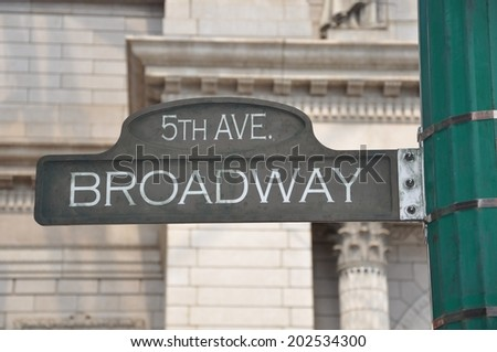 5th Avenue Broadway sign - stock photo