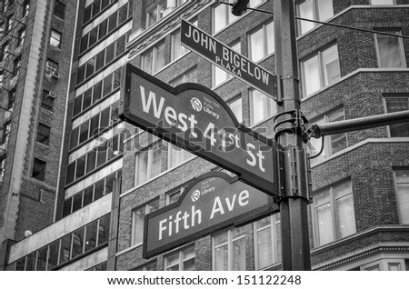 5th Avenue Sign in front of the Public Library, New York - stock photo