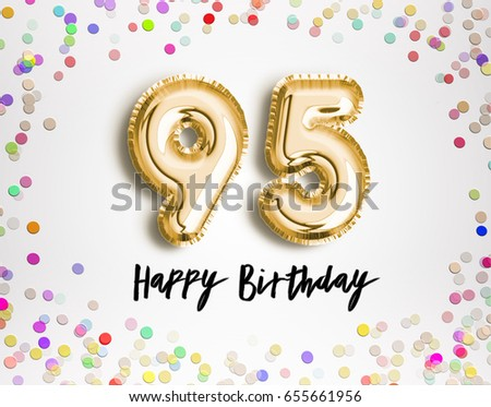 95th birthday celebration gold balloons colorful stock illustration 95th birthday celebration with gold balloons and colorful confetti glitters 3d illustration design for your filmwisefo