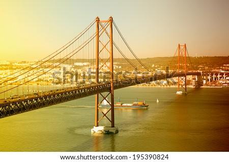 25th bridge in Lisbon, Portugal - stock photo