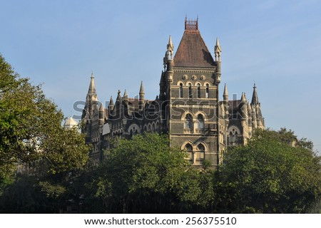 19th century British Raj Victorian Colonial style architecture Elphinstone College in Mumbai, Maharashtra, India - stock photo