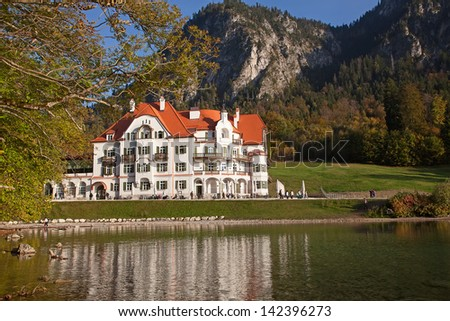 19th century building near Neuschwanstein castle in Bavarian alps, Germany