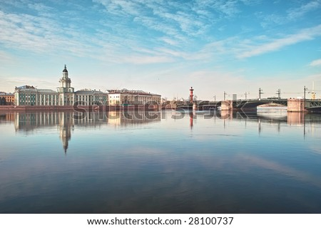 18th century buildings across the Neva river University quay in Saint Petersburg - stock photo