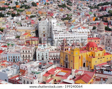16th century colonial buildings in the valley of Guanajuato in central Mexico, World Heritage Site by UNESCO.  - stock photo