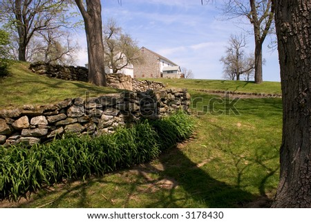 18th century farm landscape - stock photo