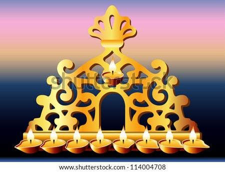 16th Century Italy Hanukkah Menorah. - stock photo