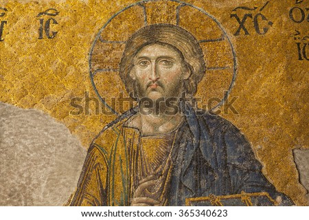 13th century Mosaic of Jesus Christ in the Hagia Sophia temple in Istanbul, Turkey