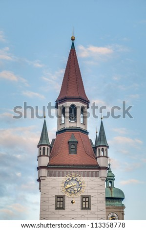 14th Century Old Town Hall (Altes Rathaus) building at Marienplatz square in Munich, Germany