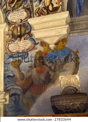 18th century wall mural depicting Mexican indigenous person, Sanctuary of Atotonilco, San Miguel de Allende, Mexico.  These murals are considered by some to be the Western Hemisphere's Sistine Chapel - stock photo