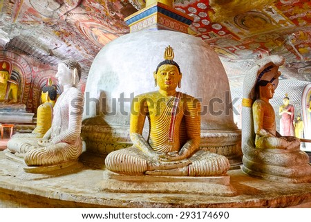 5th Century Wall Paintings And Buddha Statues At Dambulla Cave Golden Temple. Dambulla Cave Golden Temple Is The Largest And Best Preserved Cave Temple Complex In Sri Lank - stock photo