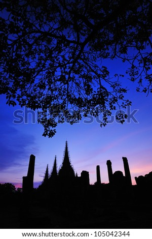 4th century Wat Si Sanphet, the largest temple in Ayuthaya in its time, - stock photo