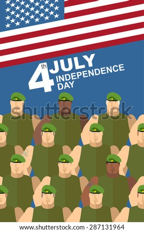 4th july. American independence day. Soldiers in Green Berets. Special forces. American flag.  - stock photo
