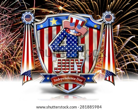 4th July Chrome effect Graphic on Shield with Swag Banner and clipping path, fireworks ground.
