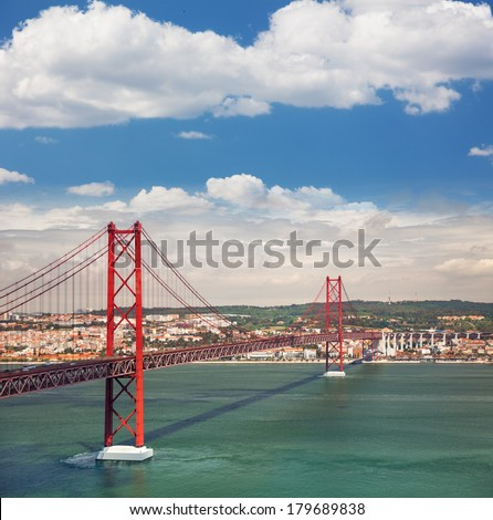 25th of April Suspension Bridge over the Tagus river in Lisbon, Portugal, Eutopean travel - stock photo