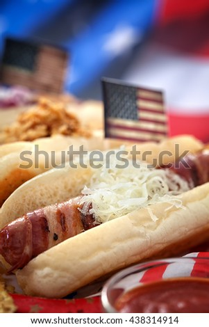 4th of July  American holiday  - Hot Dogs  - stock photo