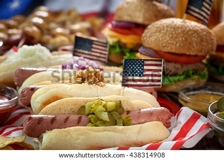 4th of July  American holiday  - Picnic Table - stock photo