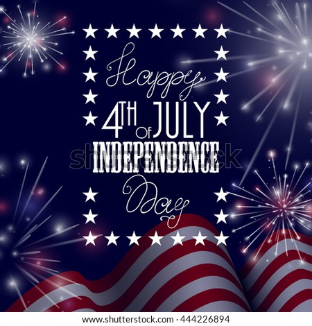 4th of July, American Independence Day celebration background with fire crackers. Congratulations on Fourth of July - stock photo