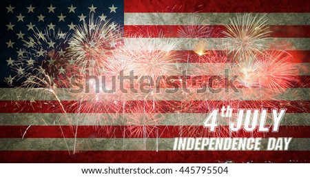 4th of July, American Independence Day celebration background with fireworks. - stock photo