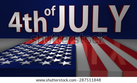 4th of July Banner, 3D American Flag, USA Flag Render (3D render, Raster Art)