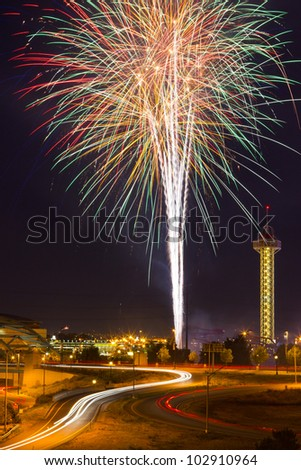 4th of July fireworks celebration in Denver Colorado - stock photo