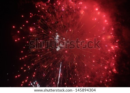 4th of July Fireworks in Santa Barbara, CA - stock photo