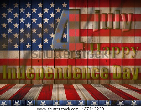 4th of July happy independence day of USA, flag of USA on wood texture design