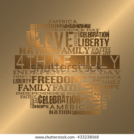 4th of July Happy independence day United States of America Gold Style - stock photo