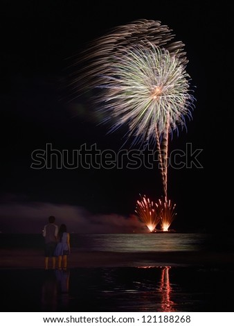 4th of July Independance Day Fireworks Atlantic City - stock photo