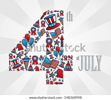 4th of july independence day icon set illustration over white background.