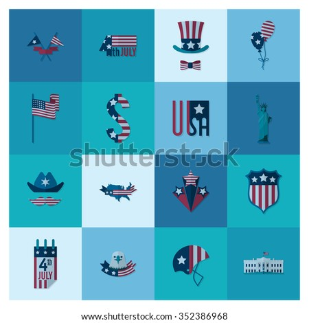 4th of July, Independence Day of the United States, Simple Flat Icons.  - stock photo