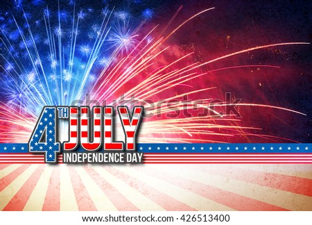 4th Of July - Independence Day Retro Card - National Holiday  - stock photo
