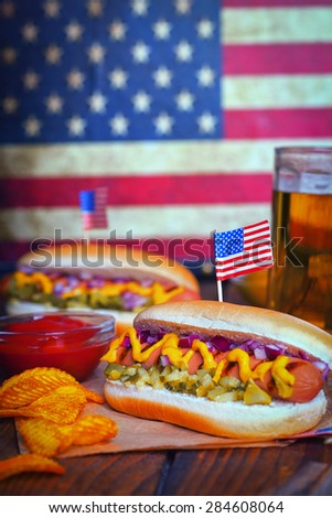 4th of July Picnic Table With Hot Dogs  - stock photo