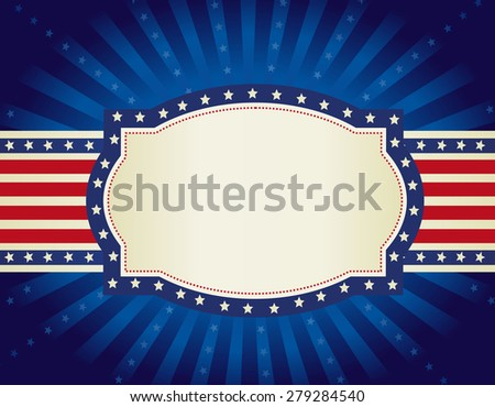 4th of july retro frame with stars and stripes on glowing starburst background - stock photo
