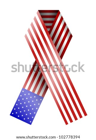 4th of july ribbon isolated on white - stock photo