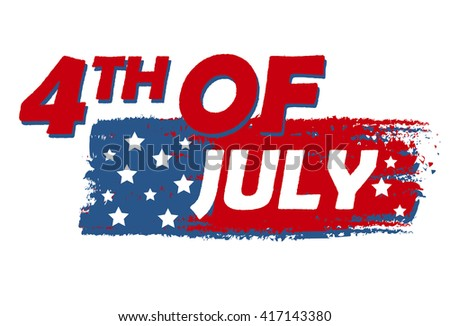 4th of July with stars over drawing flag banner - USA Independence Day, american holiday concept - stock photo